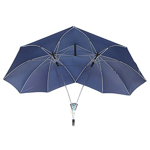 Novelty Two Person Umbrella Lover Couples Umbrella Two Head Double Size Tall Umbrella Gift for Lovers (Blue)