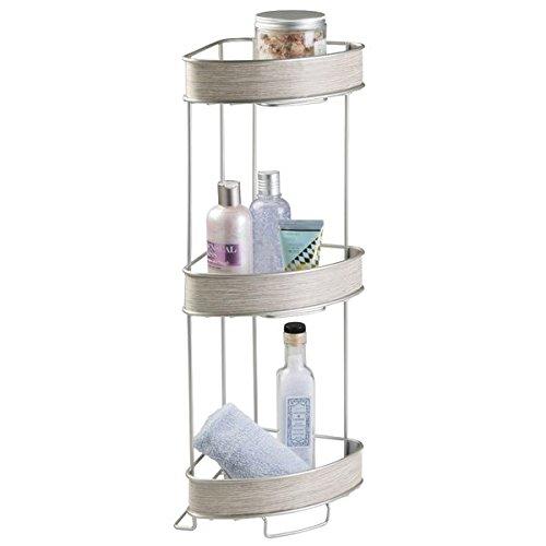 mDesign Free Standing 3-Tier Corner Shelf for Bathroom - ...