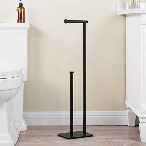 """KES Freestanding Toilet Paper Holder with Reserve for Bathroom Modern Tissue Roll Holder Stand 29"""" H SUS304 Stainless Steel Rustproof Matte Black, BPH286S1B-BK"""
