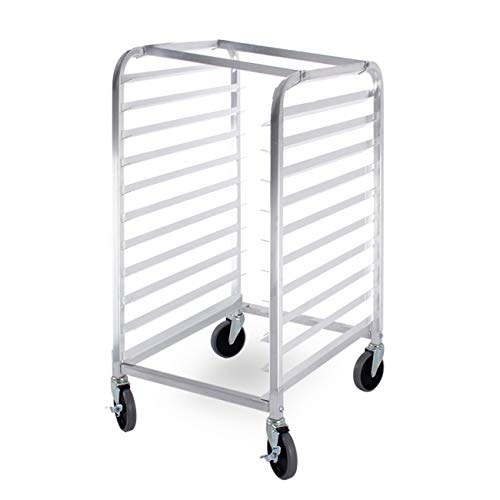 ARKSEN Commercial Kitchen 10 Tier Bun Pan Half Height Rack Sheet Aluminum w/Brake - Bakery Pan Rack