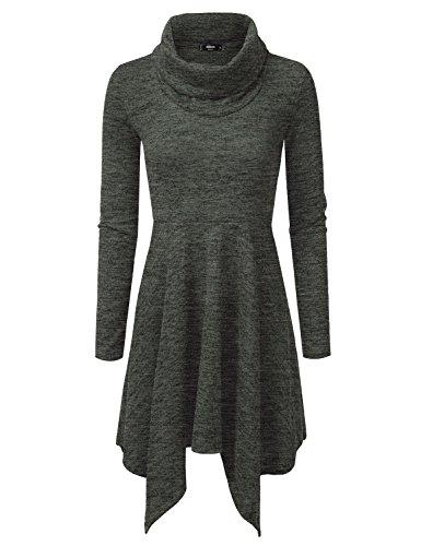NINEXIS Women's Heathered Cowl Neck Handkerchief Hem Sweater Dress GREEN XL