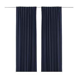 IKEA Werna - Cortinas opacas, 1 par, azul oscuro - 145x300 cm