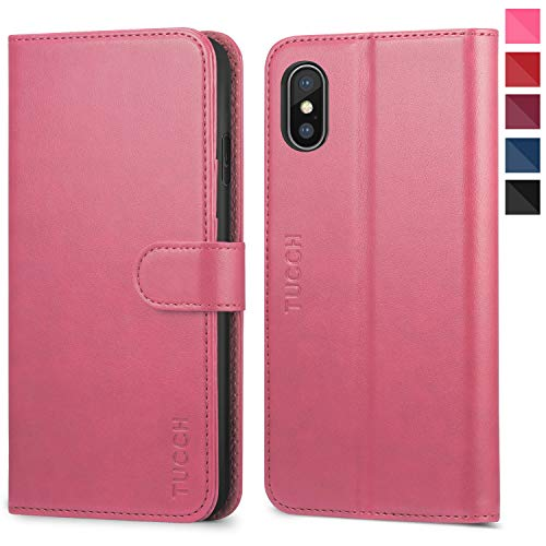 iPhone Xs Max Case, iPhone Xs Max Wallet Case, TUCCH [RFID Blocking] PU Leather Flip Case [Card Holder][Wireless Charging][Kickstand] Auto Wake/Sleep Compatible iPhone Xs Max(6.5 inch) - Hot Pink