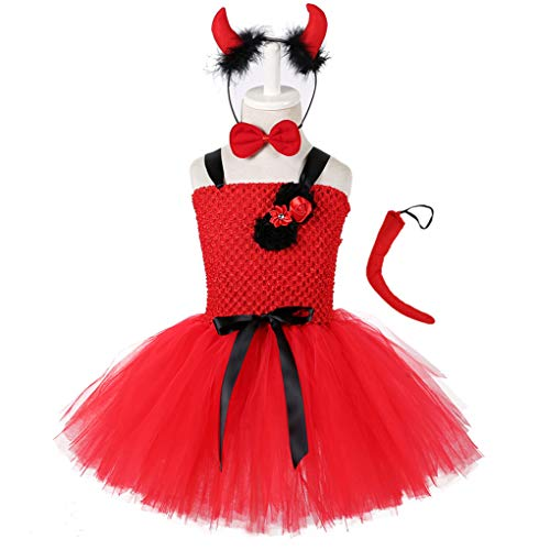 Tutu Dreams Little Devil Halloween Costume Sets Toddler Girls Red Handmade Tulle Tutus -