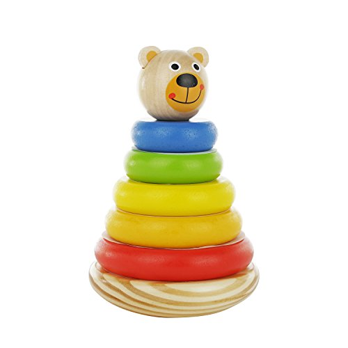Adorable Bear Wooden Ring Colorful Rainbow Stacker - Solid Wood Educational Baby Toy for Toddler Boys and Girls Age 6-12 Months, 1 Year and Up - Classic Developmental Sorting and Stacking Toy