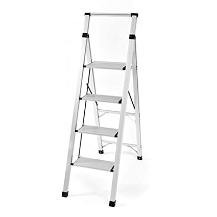 Closet Ladder Hand Rails 4 Step Aluminum, Foldable Heavy Duty Step Ladders  Wide Tread,