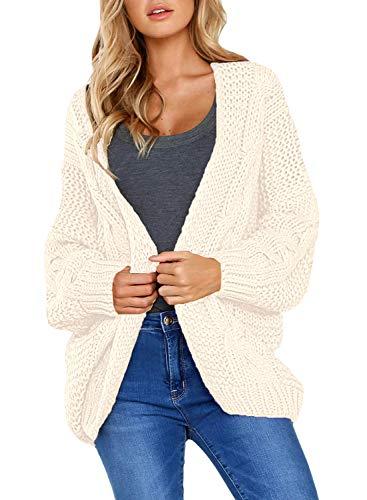 Dearlove Womens Juniors Cute Cardigan Sweaters Long Sleeve Open Front Chunky Knit Autumn Warm Outwear Coat Cream S