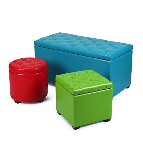 2015 Oct. NEW!! Adeco Bonded Leather Hinged Lid Storage Bench Ottoman, Set of 3 different Sizes and Color, Round Cubic Rectangular, in Red Green Blue