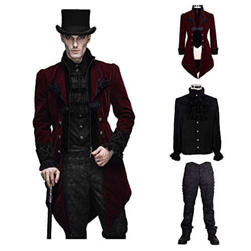 Devil Fashion Men Wine Red Victorian Vintage Jacket Velvet Party Tailcoat(XXL)