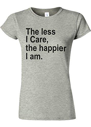 階層みなさん現実的The Less I Care Happier I am Novelty Sports Grey Women T Shirt Top-S