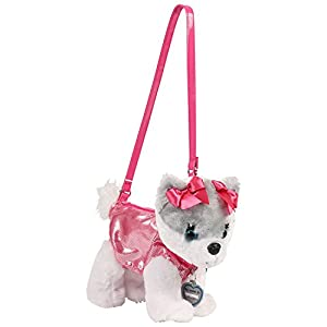 Poochie Co Plush Purse Pom with Fuschia Disco Dots and Earrings Bonus Attachment