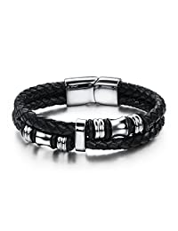 Veewin Mens Stainless Steel Braided Leather Bracelet Bangle Wrap Magnetic-Clasp 18.5cm-22cm