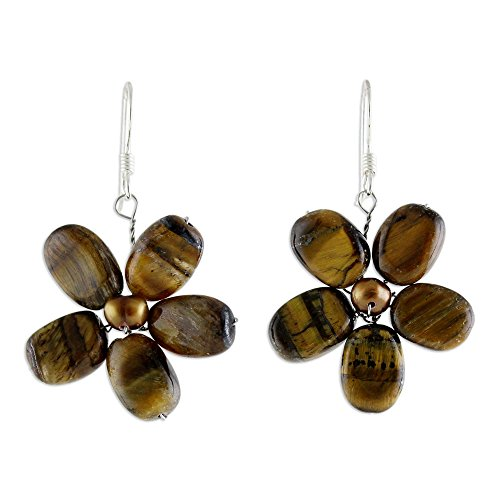 NOVICA Cultured Freshwater Pearl and Tiger's Eye Flower Earrings with Silver Hooks, Paradise' ()