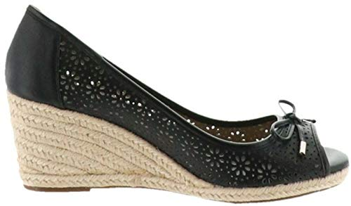 Claiborne Shoes Liz - Liz Claiborne NY Open Toe Perforated Wedges Black 8M New A263705
