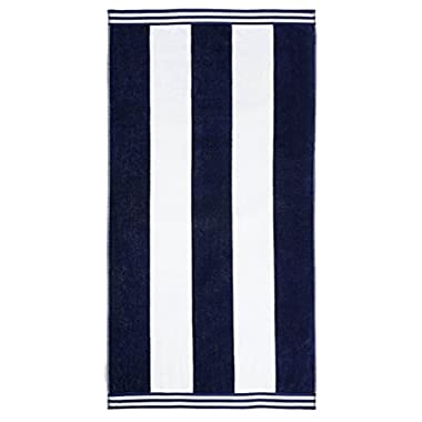 Superior Collection Luxurious Jacquard Cotton Beach Towels, Oversized, Cabana Stripes