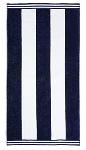 "Superior Luxurious 100% Cotton Beach Towels, Oversized 34"" x 64"", Soft Velour Cotton and Absorbent Cotton Terry, Thick and Plush Striped Beach Towels - Blue Cabana Stripes"
