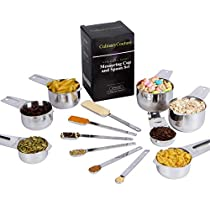 Measuring Cups And Spoons Set - 13 Piece Stainless Steel | Dry or Liquid Measuring Cup Set | Stackable Design | Narrow Tablespoons Teaspoons For Spice Jars | 1/8 Coffee Cup |Gift Box | Bonus Ebook