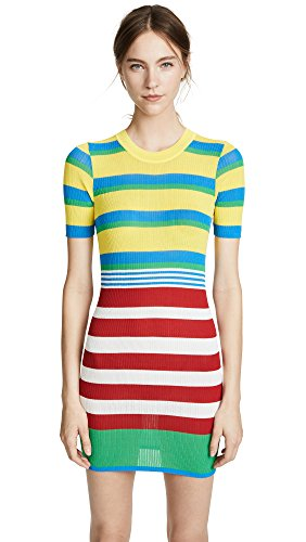 Diane von Furstenberg Women's Elbow Sleeve Knit Dress, Cadmium Multi, Small