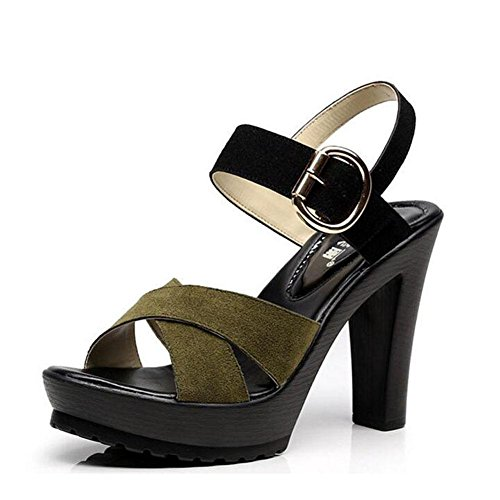 L@YC Girls Women Sandals Word Buckle Thick High With Waterproof Platform Summer 2017 Slope With Large Size Shoes, brown, 36