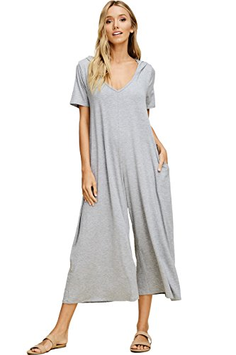Annabelle Women's Knit Plus Size Jumpsuit Featuring Palazzo Pants with Hood H Grey X-Large J8071P ()