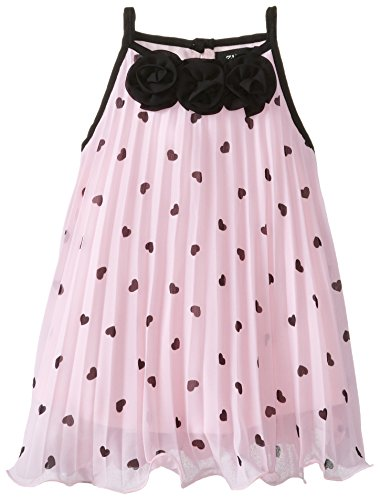 Heart Print Pink and Black Pleated Shift Dress for Girls