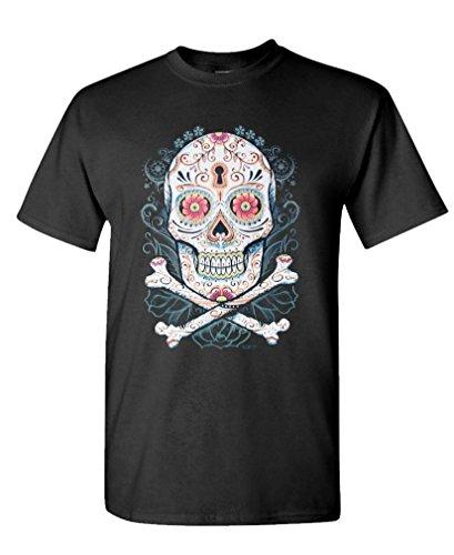 KEY HOLE SUGAR SKULL - day of dead muertos - Mens Cotton T-Shirt, L, Black