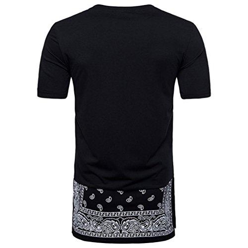 Rundhals im Hippies Herren Hipster Hop Longra Shirts T Hip Fit Shirt Style Longshirt Shirt Mode Kurzarmshirt T Slim Print Männer Druckblusen Shirt Black Shirts Ethno d0wxw14vq