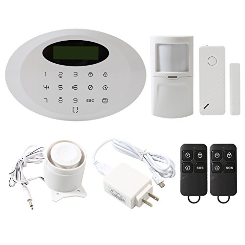 Wsdcam Wireless Home & Business GSM 99 Zones Security Alarm System with Intelligent Auto-Dial Touch Keypad, Door Contact, PIR Motion Detector, Remote Controls and Loud Siren
