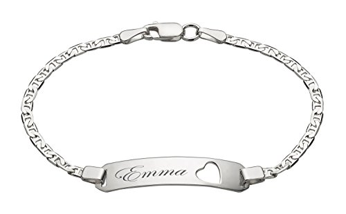 Personalized Sterling Silver 5 1/2 inch Mariner Link Baby Heart ID Bracelet Customized Engraved Free