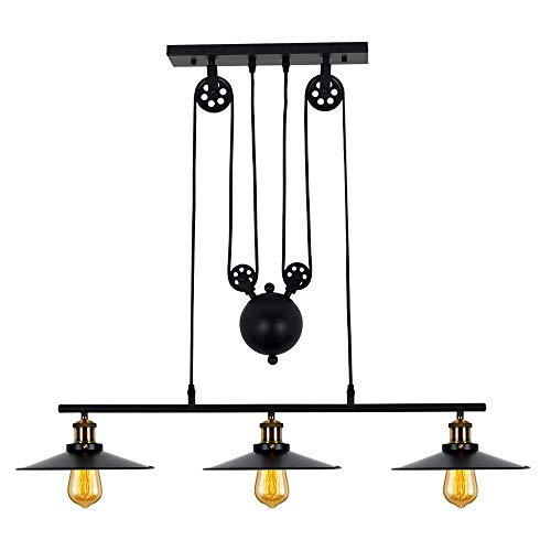 Lampundit Industrial 3-Light Pulley Island Pendant Light, Adjustable Kitchen Island Light Fixture for Indoor Pool Table Farmhouse Bar Table Ceiling Hanging Lighting