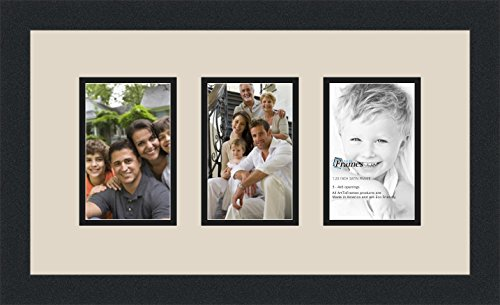 ArtToFrames Collage Photo Frame Double Mat with 3 - 4x6 Openings and Satin Black Frame