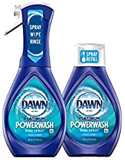 Dawn Platinum Powerwash Dish Spray Starter Kit, Dish Soap, Fresh Scent Bundle, 1 Starter Kit plus 1 Refill (16 fl oz ea)