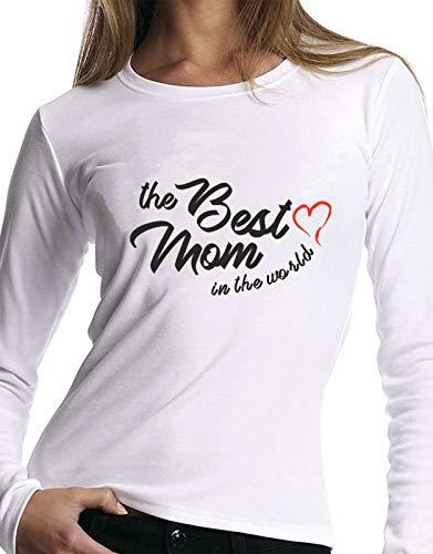 Della Miglior Idea Tshirt Best Del Regalo Mom Manica The Mondo Bianco Lunga Mamma La Festa World In UxTtx4g