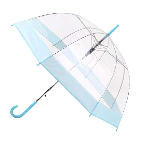 YoCozy Clear Bubble Umbrella Windproof Adult Women Kids Auto Open Blue Edge ()