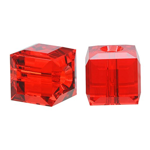 Swarovski Crystal, 5601 Cube Beads 8mm, 4 Pieces, Light Siam Red