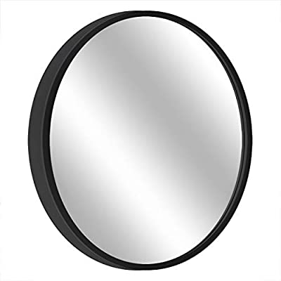 "MORIGEM Round Mirror, 19.7"" Wall Mirror, Wall-Mounted Mirror for Bedroom, Bathroom, Living Room & Entryway, 1.4"" Metal Frame Vanity Mirror, Black - 【LARGE & ROUND MIRROR】: Measured in 19.7 inch in diameter, simple and beautiful, MORIGEM Round Mirror looks great in any room and fits right with any decor. 【DECORATIVE METAL FRAME】: MORIGEM's innovative 1.4 inch Black Metal Frame can not only add to the beauty of this Round Mirror, but also double as a protective bumper, making it ideal for high-traffic area or for use as an entryway mirror. 【SAFE & EASY INSTALLATION】: With Metal Hardware Hole on the back and 2 screw sets, our Wall-Mounted Mirror will really give you a comfortable way to set up. - mirrors-bedroom-decor, bedroom-decor, bedroom - 41KOdCAXC6L. SS400  -"