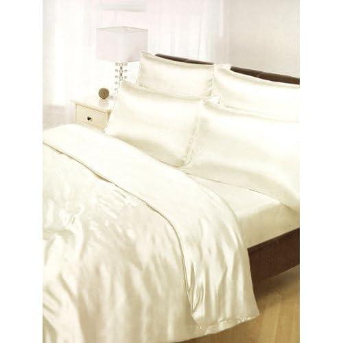 Cream Satin Silk Duvet Sheet Cover Set Double Size 6 Pcs