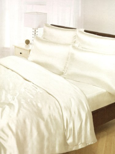 Cream Satin Silk Duvet Sheet Cover Set Double Size 6 Pcs