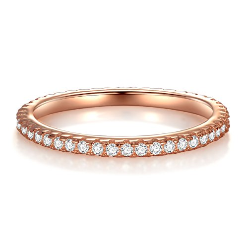 Women Rose Gold Plated Rings Sterling Silver Ring Cubic Zirconia Simulated Diamond Rings Valentine's Day Gifts for Women Anniversary Gifts for Her Gifts for Wife Girlfriend Romantic Gifts For Her