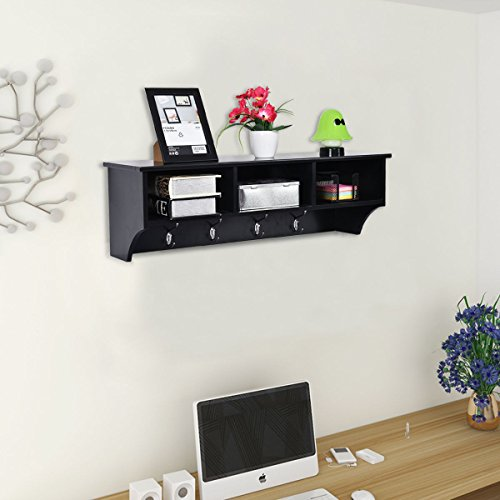 Wall Mount Coat Rack Storage Shelf Cubby Organizer Hooks Entryway Hallway Black Wildlife Coat Racks