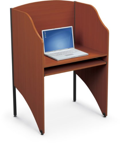 Balt Standard Floor Carrel Private Workstation, Starter Unit, Cherry (90124) by Balt