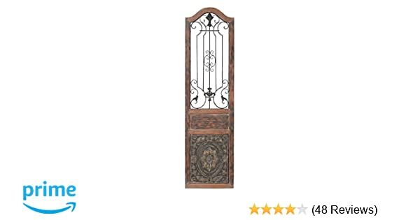 Deco 79 Rustic Arched Door Inspired Wood And Metal Wall Decor 72 H X 19 L Distressed Chestnut Brown Finish