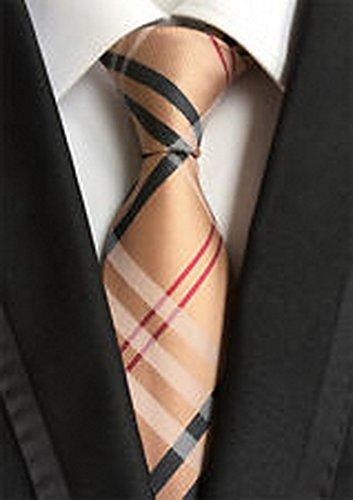 [Calvinci - Classic Checks Brown Black Red JACQUARD WOVEN 100% Silk Men's Tie Necktie TGIN 120142] (Classic Playboy Bunny Costume Black)