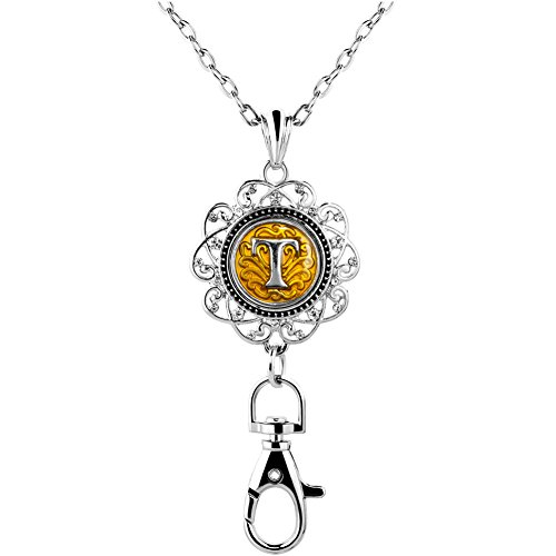 ShinyJewelry Office Lanyard Necklace Clip Badge ID Holder Pendant With A-Z Letter Alphabet Snap Charm (T) ()