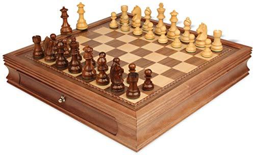 German Knight Staunton Chess Set Acacia & Boxwood Pieces with Walnut Chess Case - 3.25