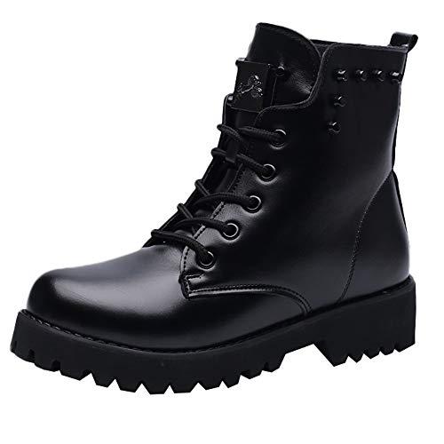 Lacets Chaudes Manadlian Noir Bottes Botte Fourrées Plates Classiques Chaussures Hiver Martin Boots Cuir Impermeables Femme Bottines 76r47