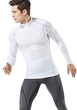 Tesla Tm-mut12-wht_large Men's Mock Long-sleeved T-shirt Cool Dry Compression Baselayer Mut12 3