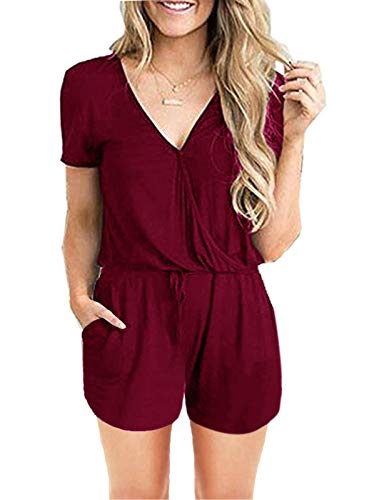 Wrap Front Pant - ANRABESS Women's Summer Solid Elastic Waist Jumpsuit Casual Loose Short Sleeve Jumpsuit Rompers with Pockets duanV-Wine-S BYF-35