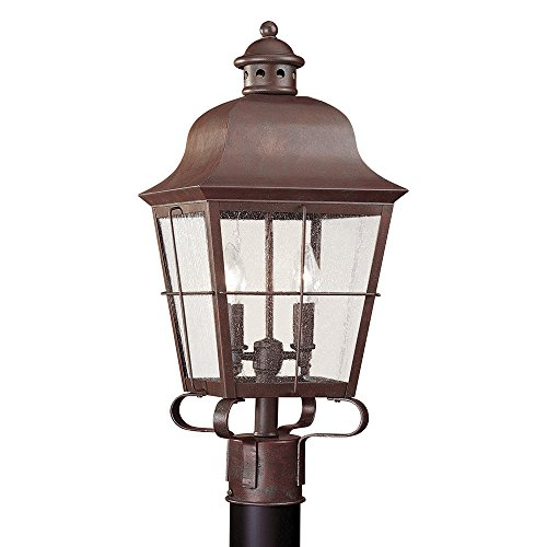 (Sea Gull Lighting 8262-44 Chatham Two-Light Outdoor Post Lantern with Clear Seeded Glass Panels, Weathered Copper Finish)
