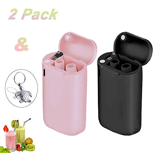 Black Metal Keychain - Collapsible Reusable Straws Stainless Steel Foldable Drinking Straws Premium Food-Grade Silicone Straw 2 Pack Final Metal Straws with Travel Case Keychain Cleaning Brush (Pink&Black)